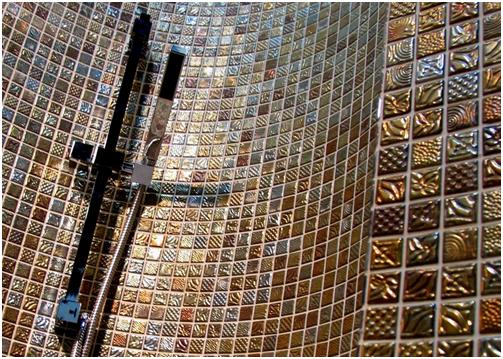 Elogy Oda Pandora Curved Shower Mosaic Golden Tones